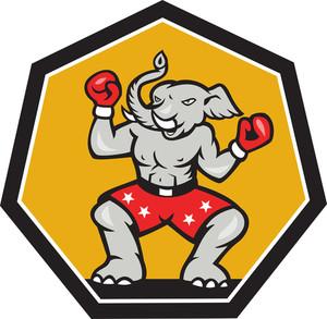 Elephant Mascot Boxer Cartoon