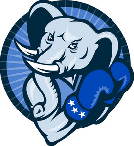Elephant With Boxing Gloves Democrat Mascot