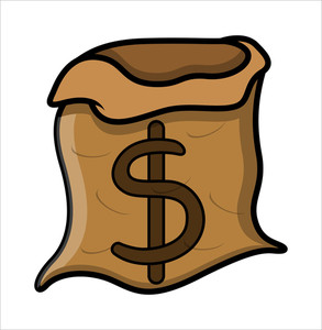 Empty Bag Of Money - Vector Illustration