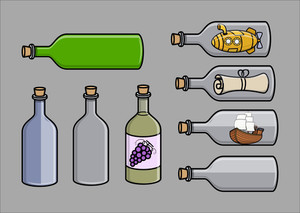 Empty Old Cark Bottles - Cartoon Vector Illustration