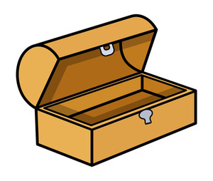 Empty Treasure Box - Cartoon Vector Illustration