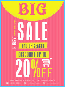 End of season big sale flyer banner or template with discount offer for your business.