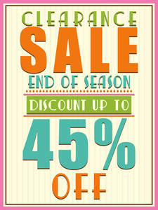 End of Season Clearance Sale with 45% discount offer