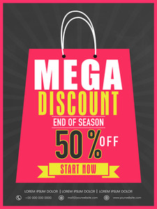 End of season sale flyer banner or template design with mega discount.