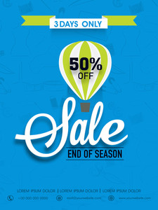 End of season sale flyer banner or template with discount offer.