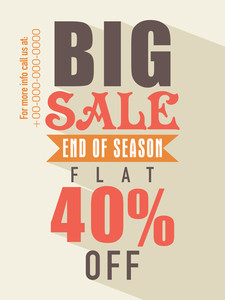 End of season sale flyer banner or template with flat discount offer.