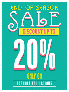 End of Season Sale poster banner or flyer design with discount offer only on fashion collection.