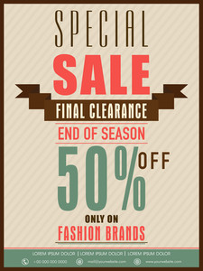 End of season special sale flyer banner or poster design with disocunt offer only fashion brands.