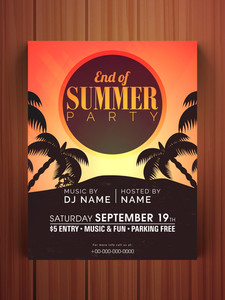 End of Summer Season Party celebration flyer banner or template on wooden background.
