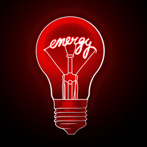 Energy Electric Light Bulb. Red And Black Vector Concept.