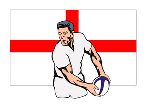England Rugby Player Passing Ball