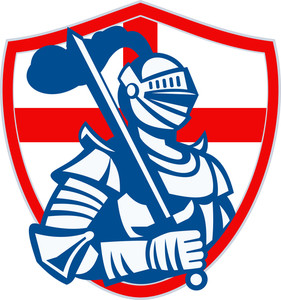 English Knight Hold Sword England Shield Flag Retro