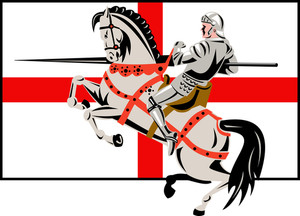 English Knight Lance Horse England Flag Side Retro