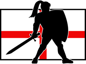 English Knight Shield Sword England Flag Retro