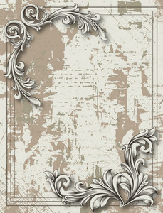Engraved Floral Background Vector Illustration