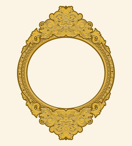 Engraved Gold Floral Frame Vector Illustation