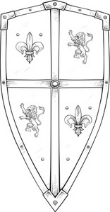Engraved Shield Vector Element