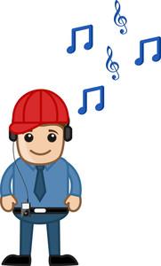 Enjoying Music - Business Cartoons Character