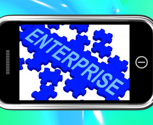 Enterprise On Smartphone Showing Company Development
