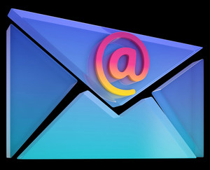 Envelope At Sign Shows Email On Web