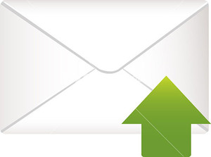 Envelope Icon With Green Arrow Sign On White Background