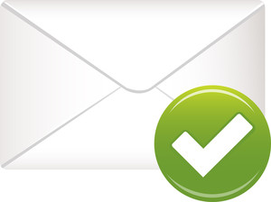 Envelope Icon With Green Check Sign On White Background