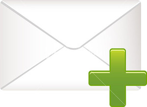 Envelope Icon With Green Plus Sign On White Background