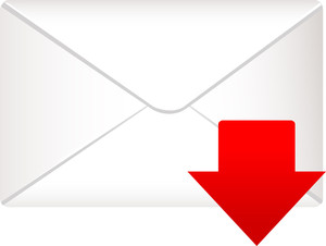 Envelope Icon With Red Arrow Sign On White Background