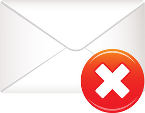 Envelope Icon With Red Cross Sign On White Background