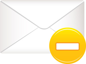 Envelope Icon With Yellow Minus Sign On White Background