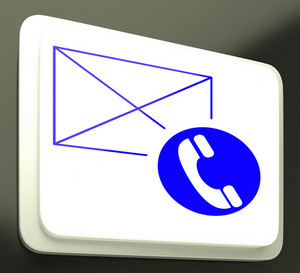 Envelope Phone Sign Showing Communication Media