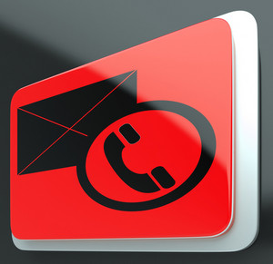 Envelope Phone Sign Shows Contact Us Information