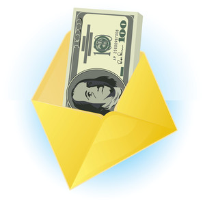 Envelope With Dollars. Vector.