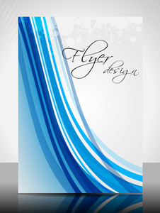 Eps 10 Flyer Design Presentation And Waves With Blue Color. Editable Vector Illustration.
