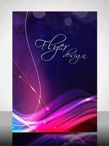 Eps 10 Flyer Design Presentation With Colorful Waves And Effect. Editable Vector Illustration.