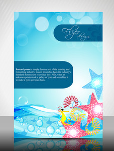 Eps 10 Water Concept Flyer Design Presentation With Water Effect. Editable Vector Illustration.