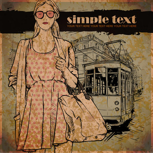 Eps10 Vector Illustration Of A Pretty Fashion Girl And Old Tram. Vintage Style.