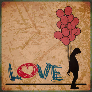 Eps10 Vintage Background With Boy And Balloons
