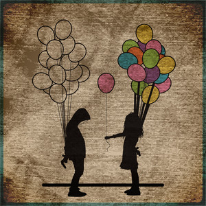 Eps10 Vintage Background With Boy And Girl With Balloons