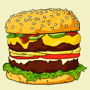 Eps10 Vintage Background With Cartoon Ham Burger