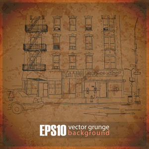 Eps10 Vintage Background With Cityscape