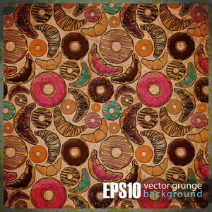 Eps10 Vintage Background With Croissants And Donuts.