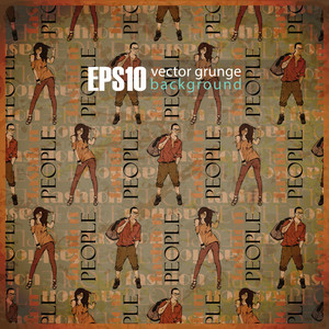 Eps10 Vintage Background With Fashion Girls And Guys
