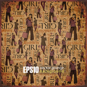 Eps10 Vintage Background With Fashion Girls