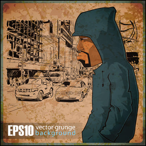 Eps10 Vintage Background With Graffiti Character