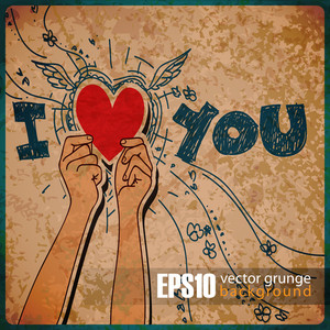 Eps10 Vintage Background With Hands Holding The Heart