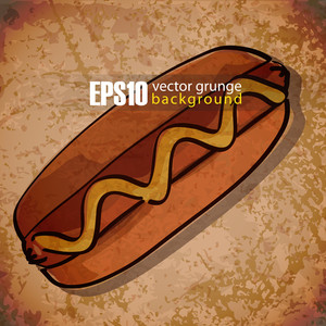 Eps10 Vintage Background With Hot Dog