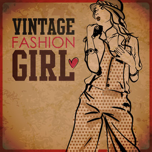 Eps10 Vintage Background With Pretty Young Girl