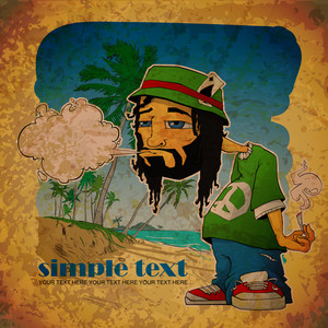 Eps10 Vintage Background With Rasta Character On The Beach