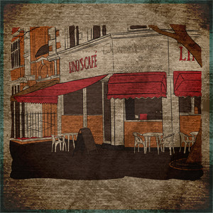 Eps10 Vintage Background With Street Cafe View